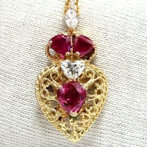 Jewelry - 3.78ct AIGS Certified No Heat Ruby Diamonds Neckla